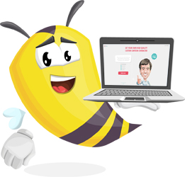 laptop and bee cartoon character GraphicMama
