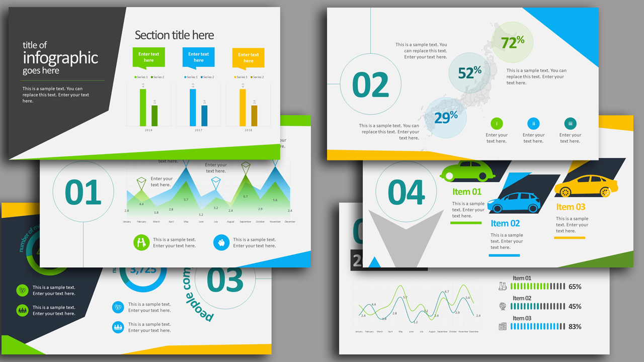 35 free infographic powerpoint templates to power your presentations this modern widescreen infographic template in powerpoint includes everything you need to present data you can freely change positions colors alramifo Choice Image