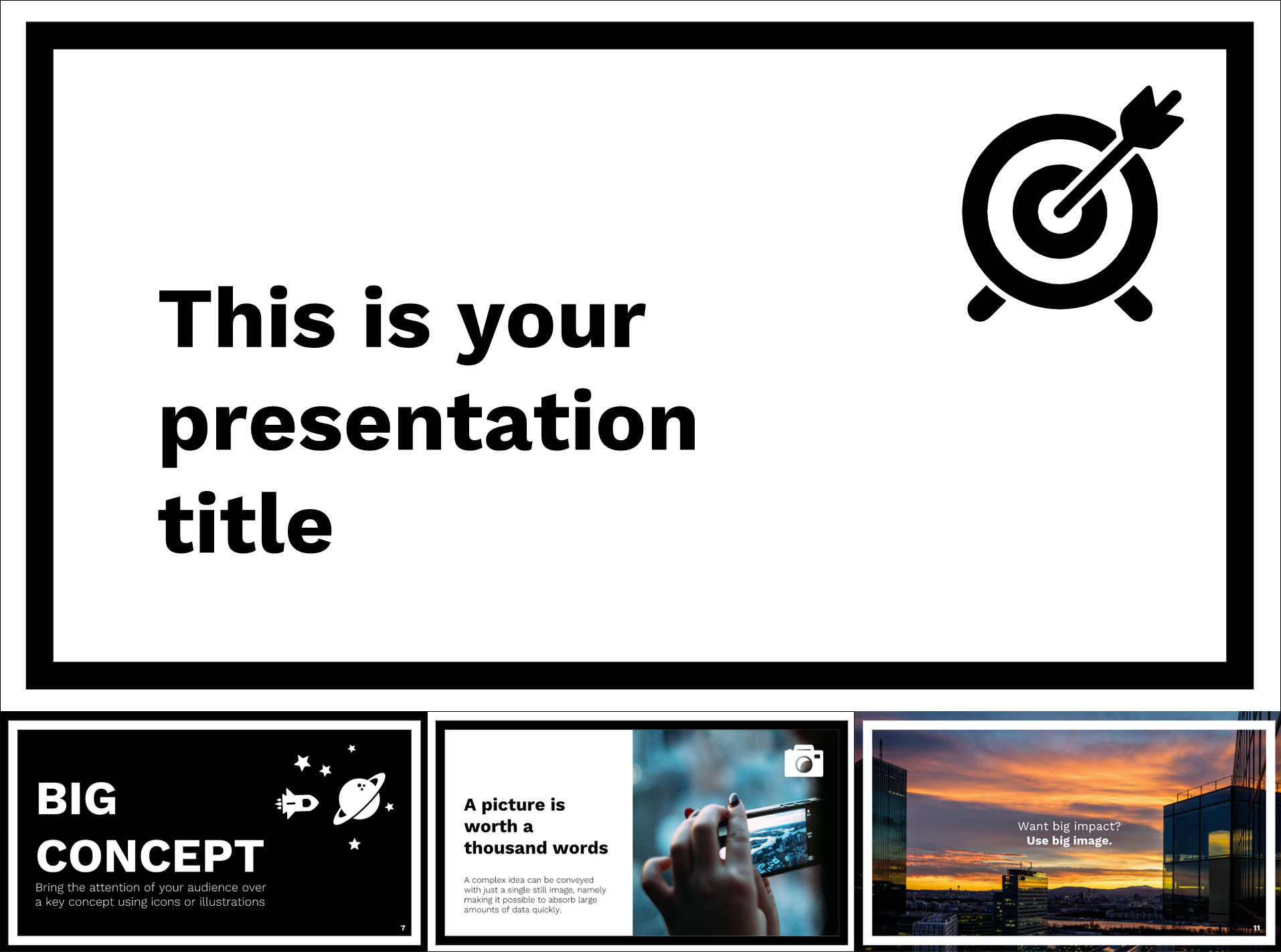 Black & White Free Google Slides Templates Theme