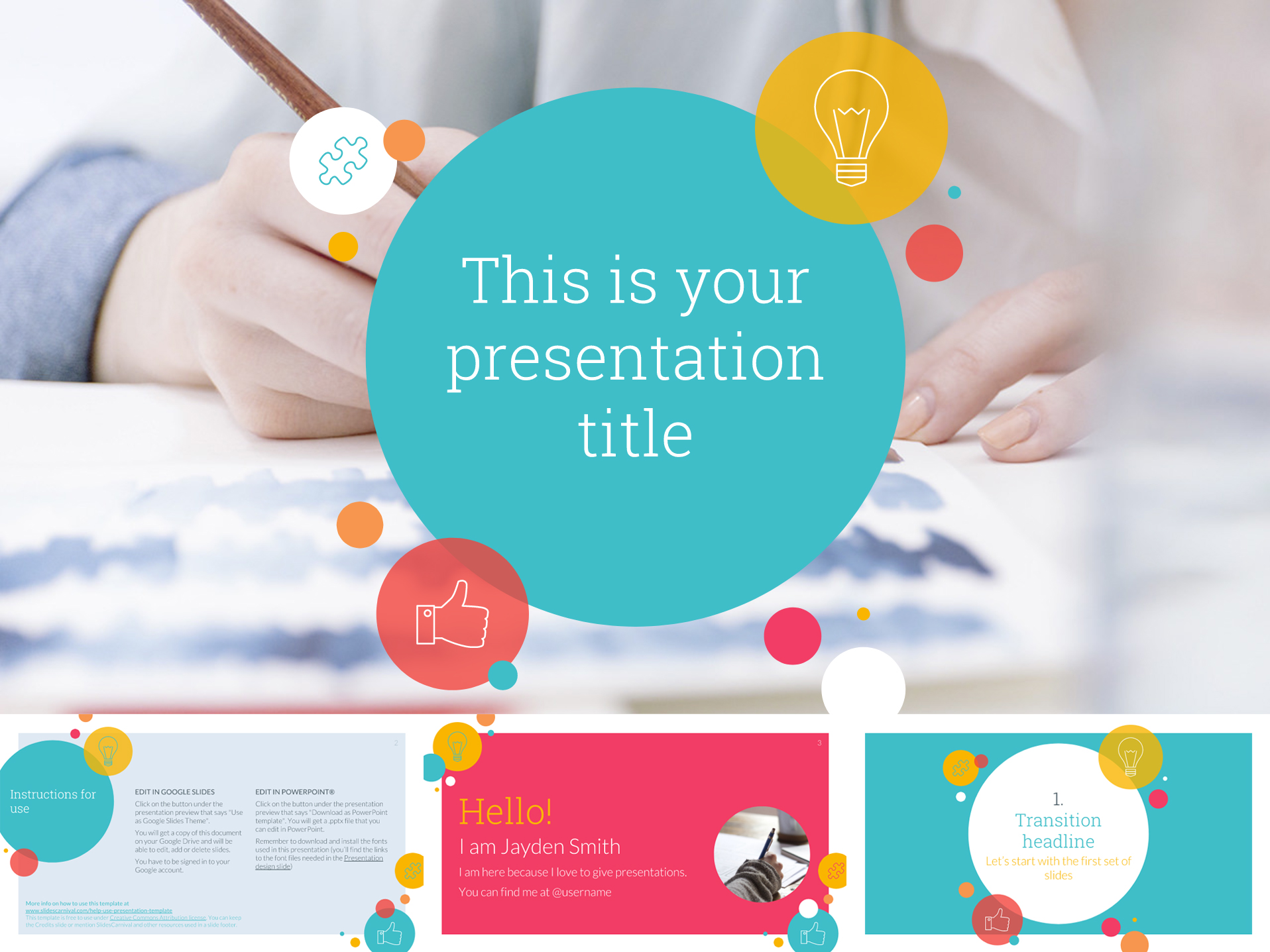 30 free google slides templates for your next presentation geometric colorful google slides templates with circles toneelgroepblik Image collections