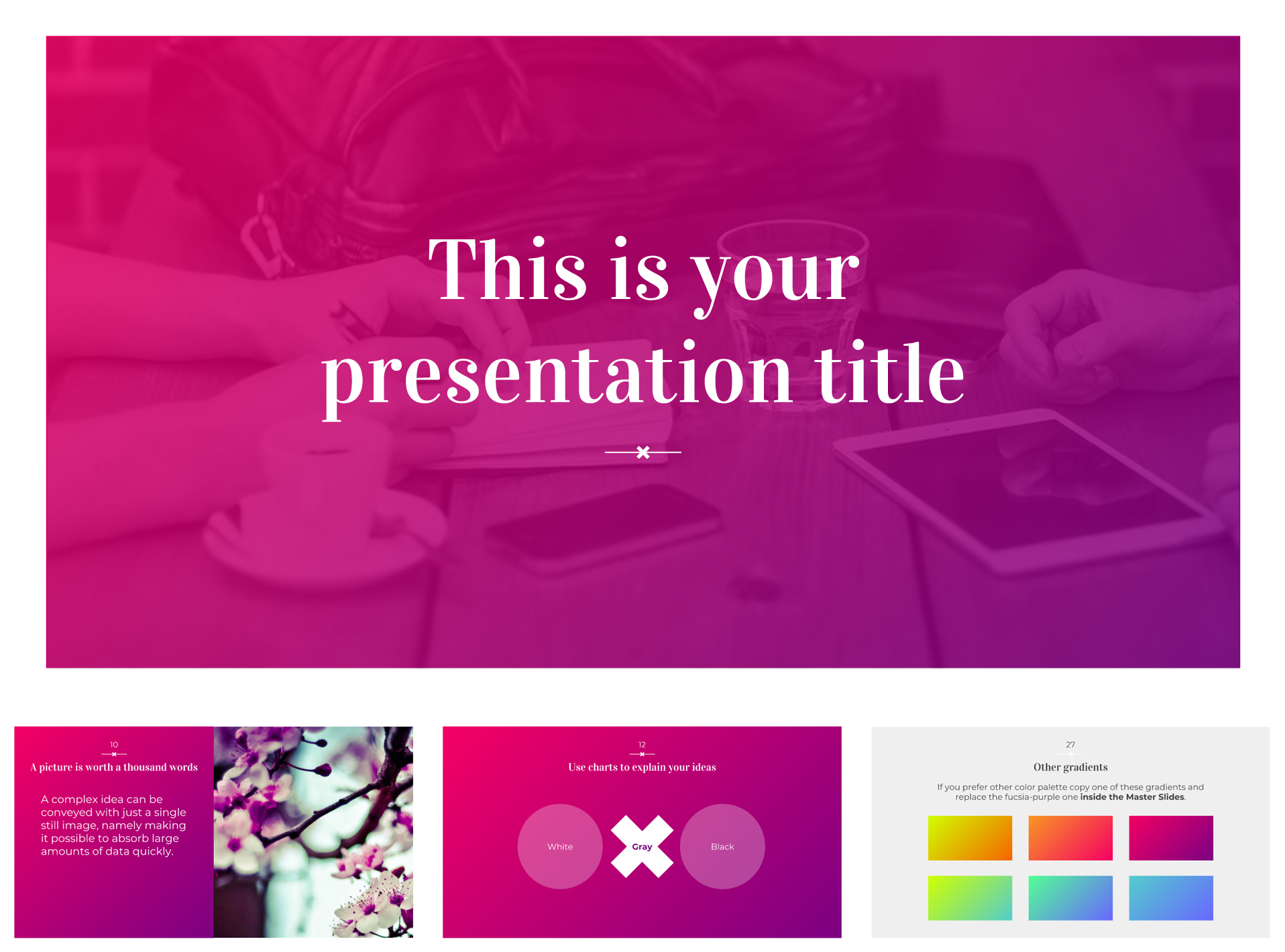Free Google Slides Templates with 6 Color Gradients