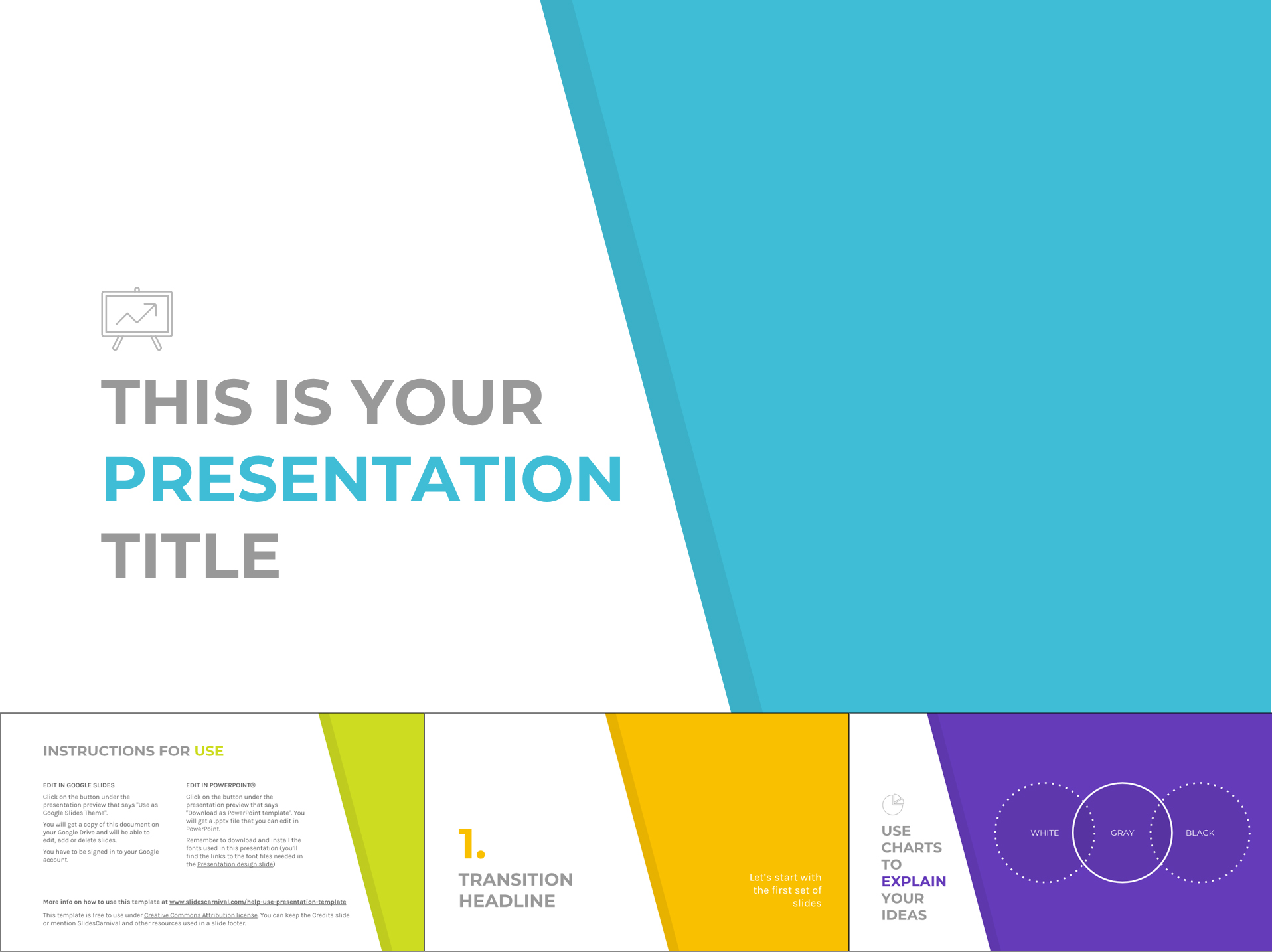 minimalist multi color free google slides templates design