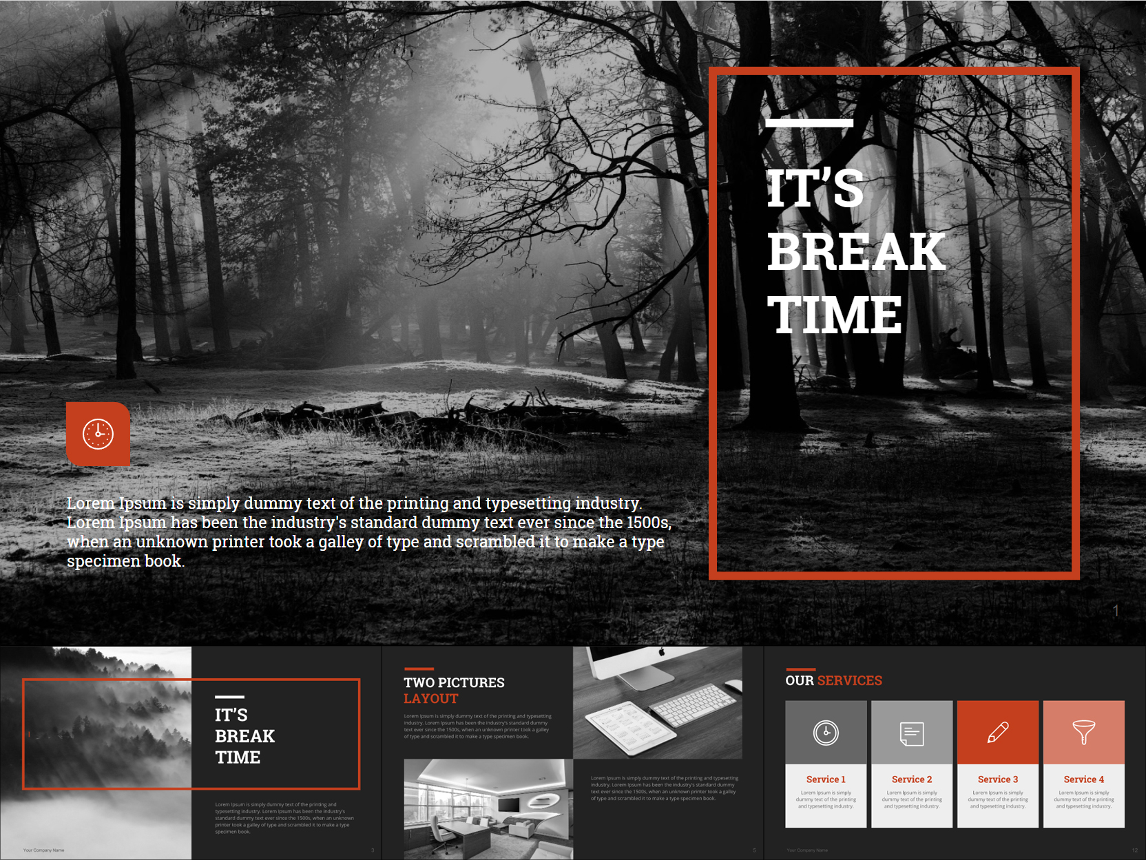 Trendy B&W Google Slides Templates Design