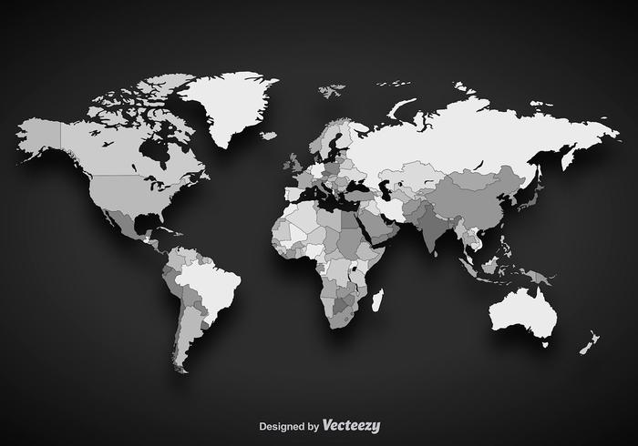 Free world map vector collection 55 different designs graphicmama a grayscale world map vector design with a shadow and outlined countries gumiabroncs Image collections