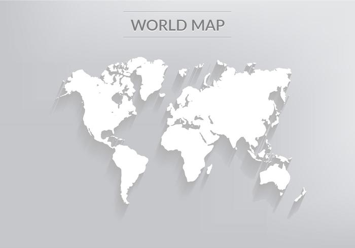Free world map vector collection 55 different designs graphicmama a white vector 3d world map with a long shadow gumiabroncs Image collections