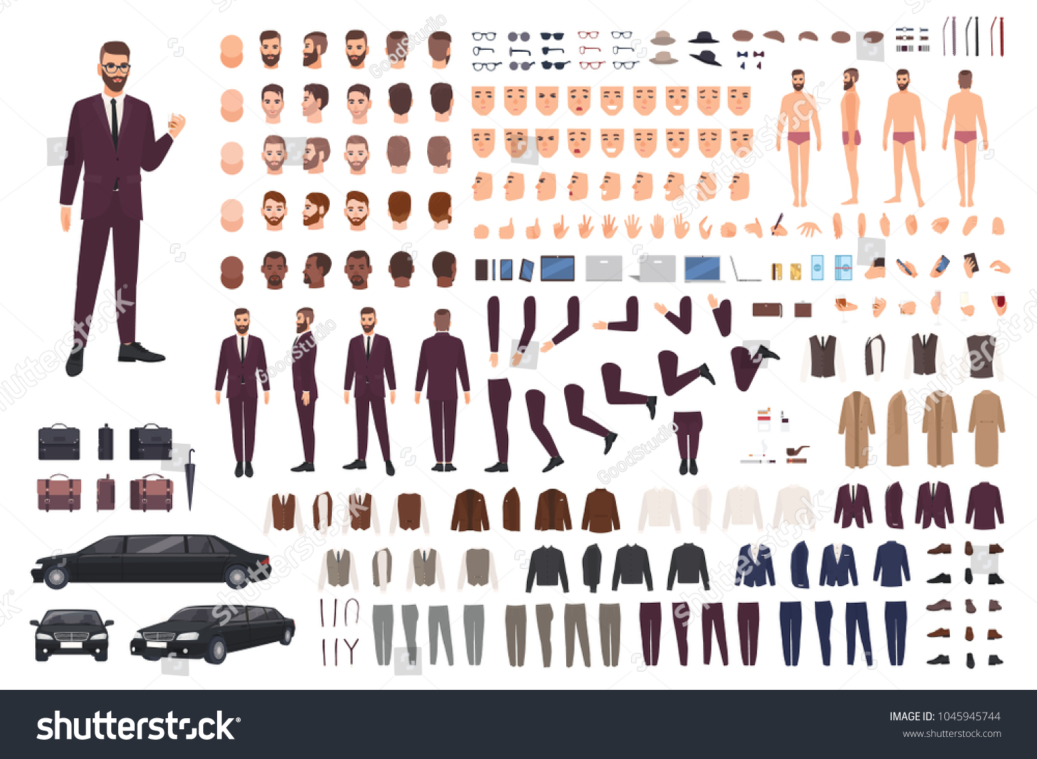 create your own businessman character kit
