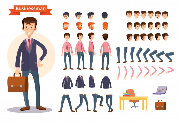 flat businessman cartoon creation kit