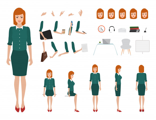 office woman cartoon character set