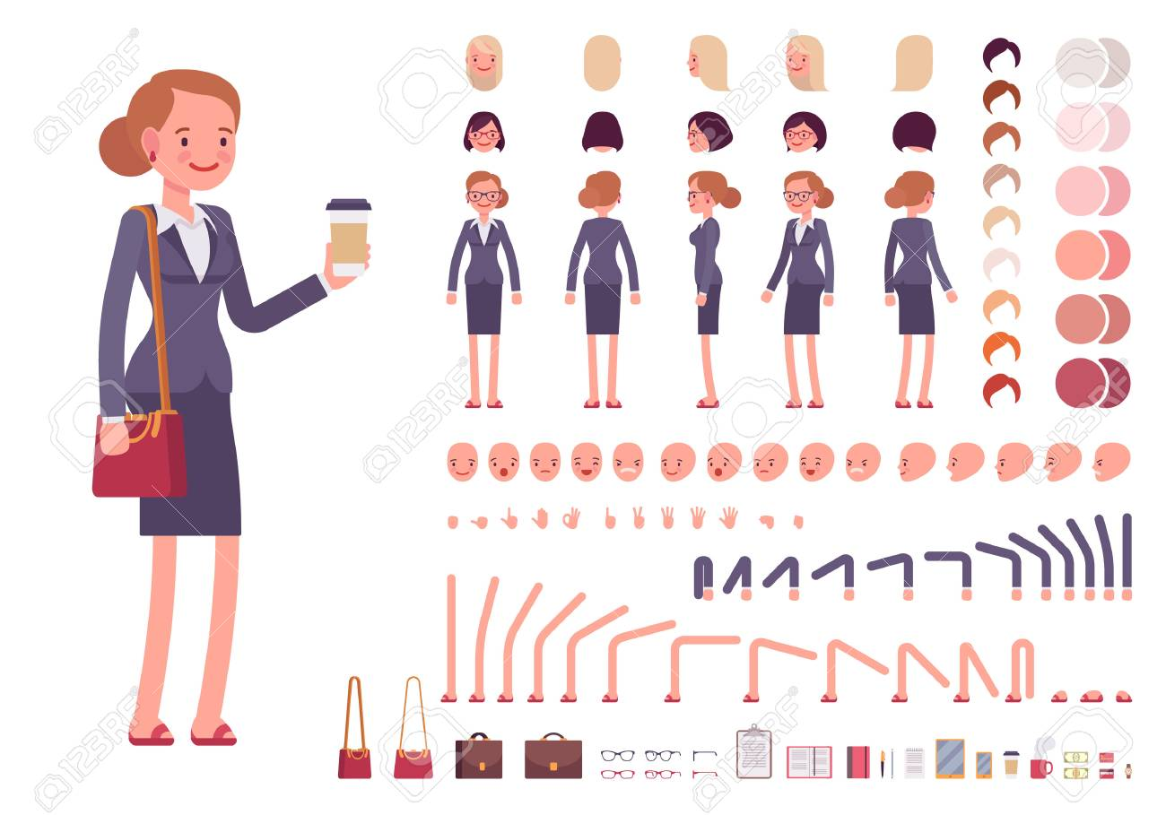 create your own character simple flat businesswoman