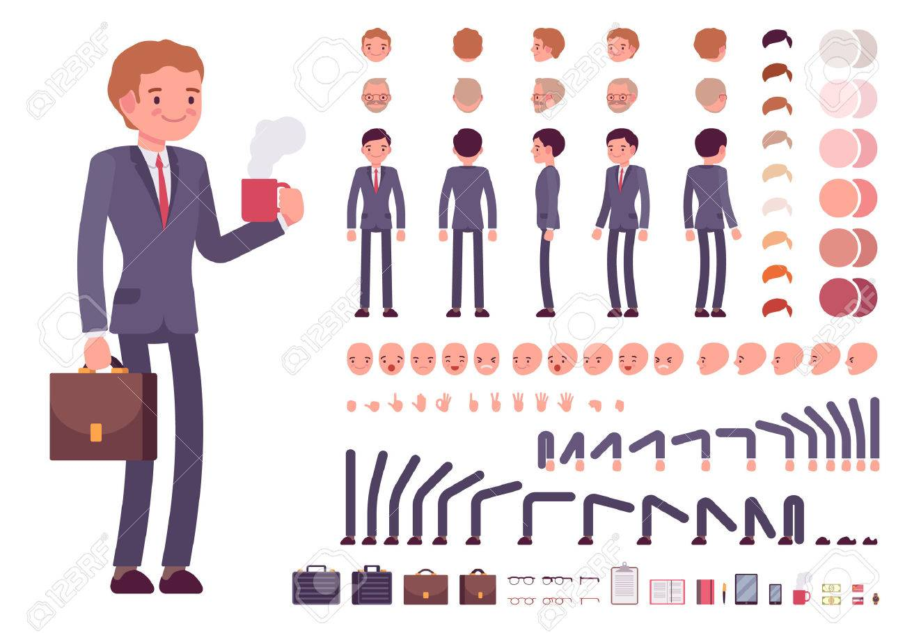 create your own character simple flat businessman