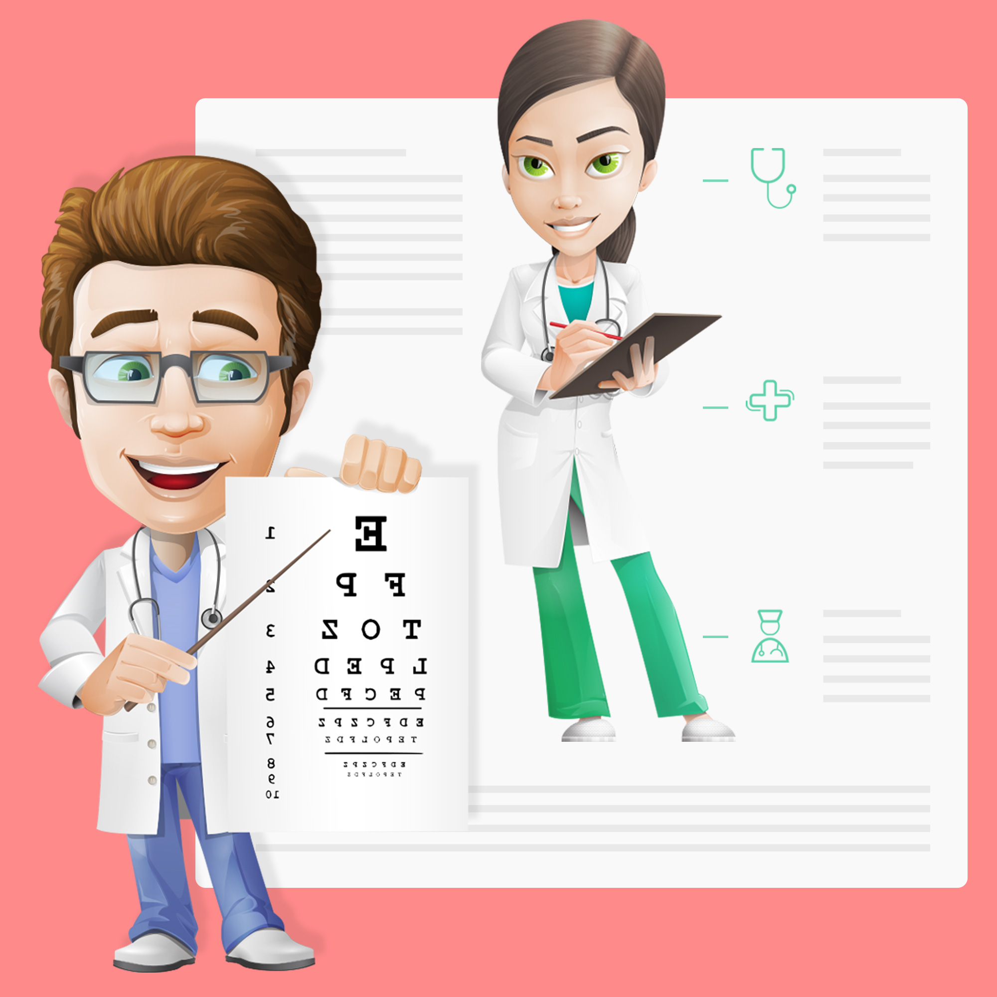 subject matter expert doctor cartoon characters by GraphicMama