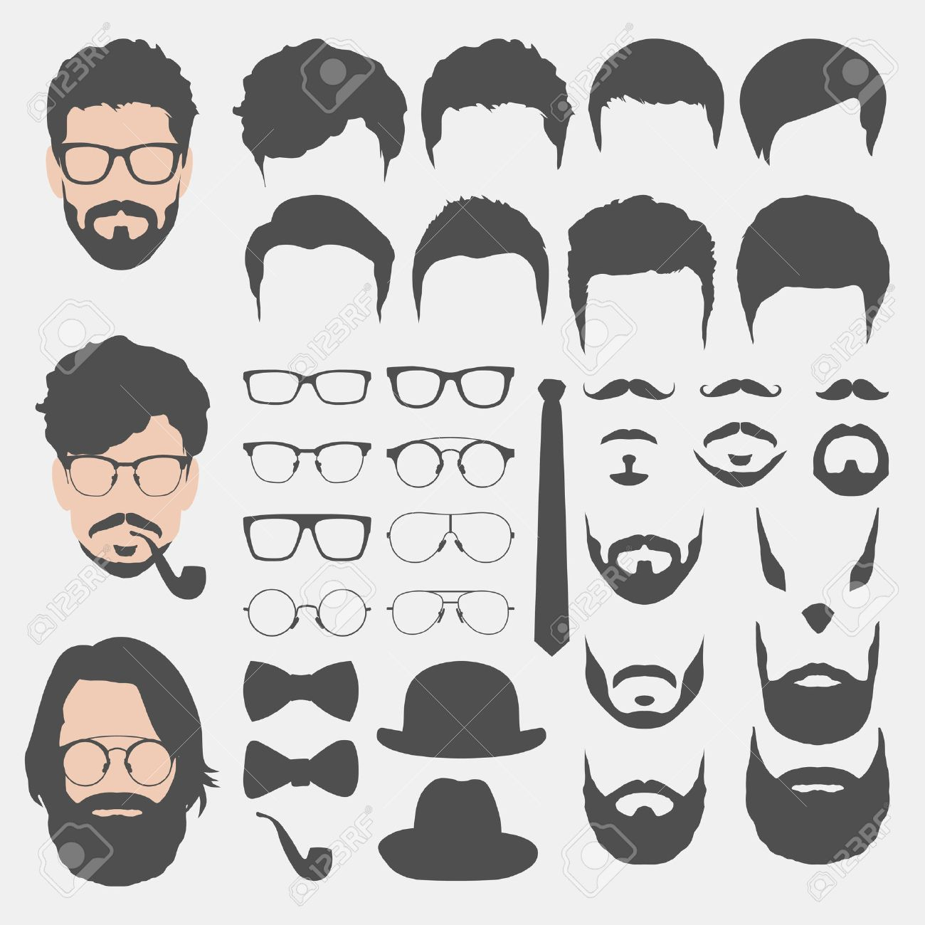 create your own hipster avatar flat style