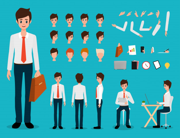 create your own character young businessman