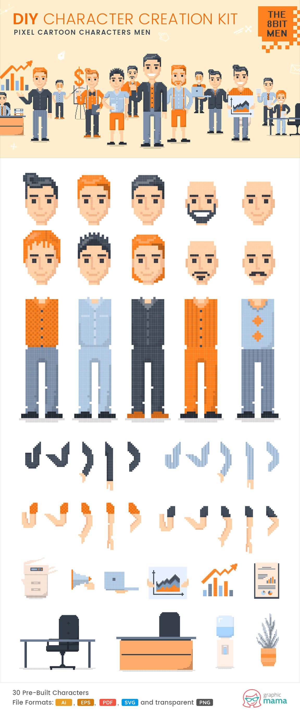create your own pixel character vector diy kit by GraphicMama
