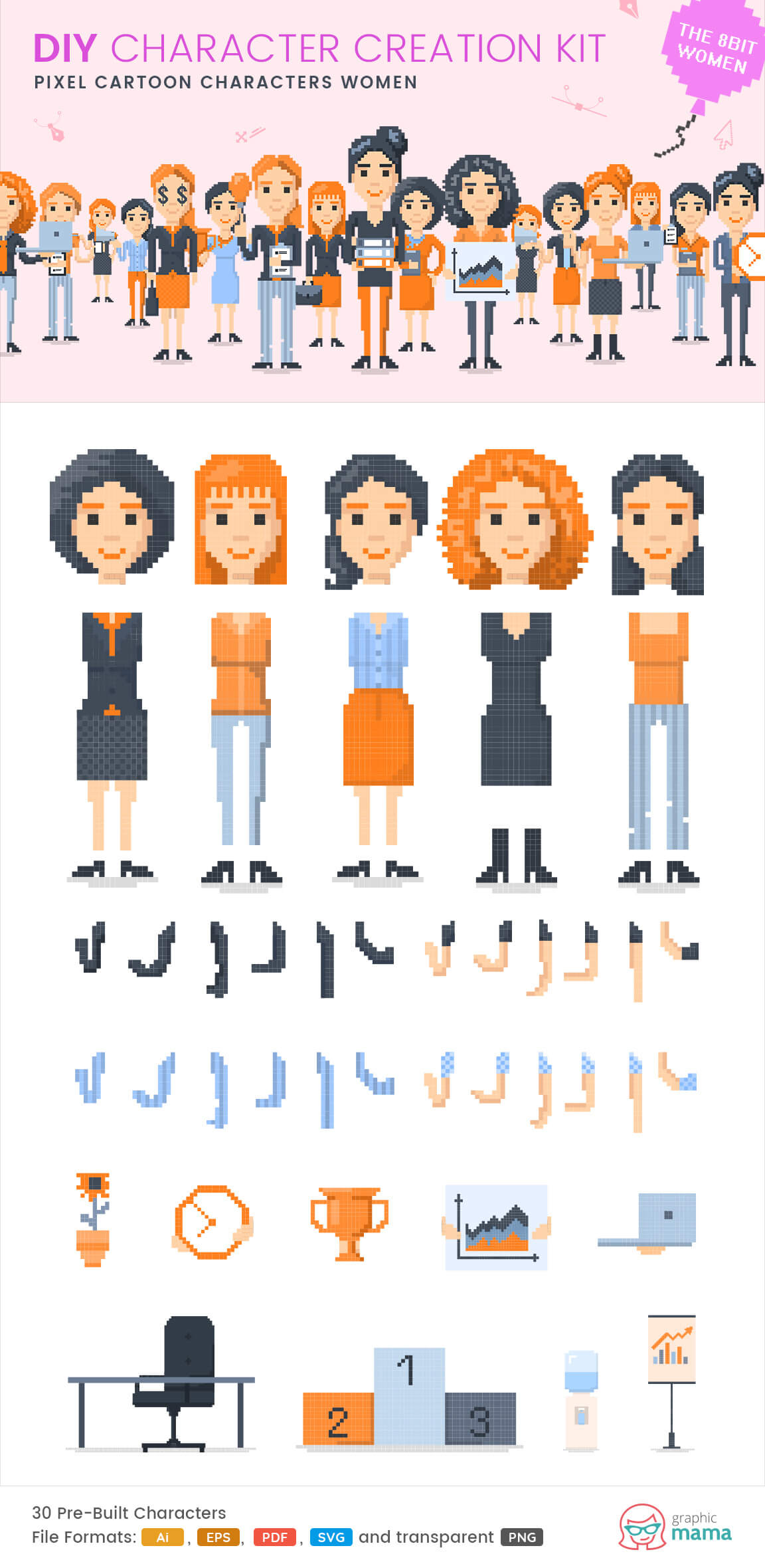 create your own pixel woman character vector diy kit by GraphicMama
