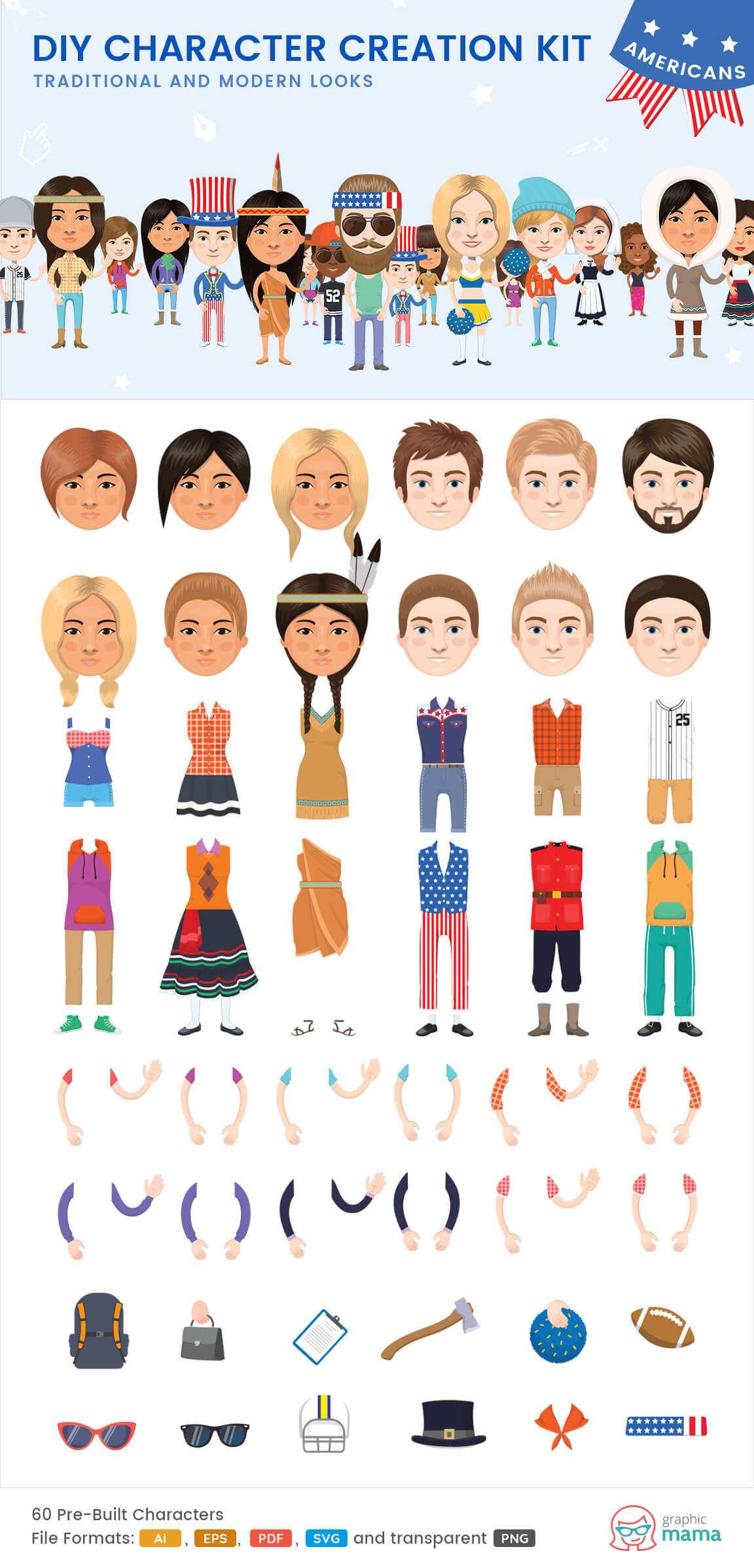create your own American character vector diy kit by GraphicMama
