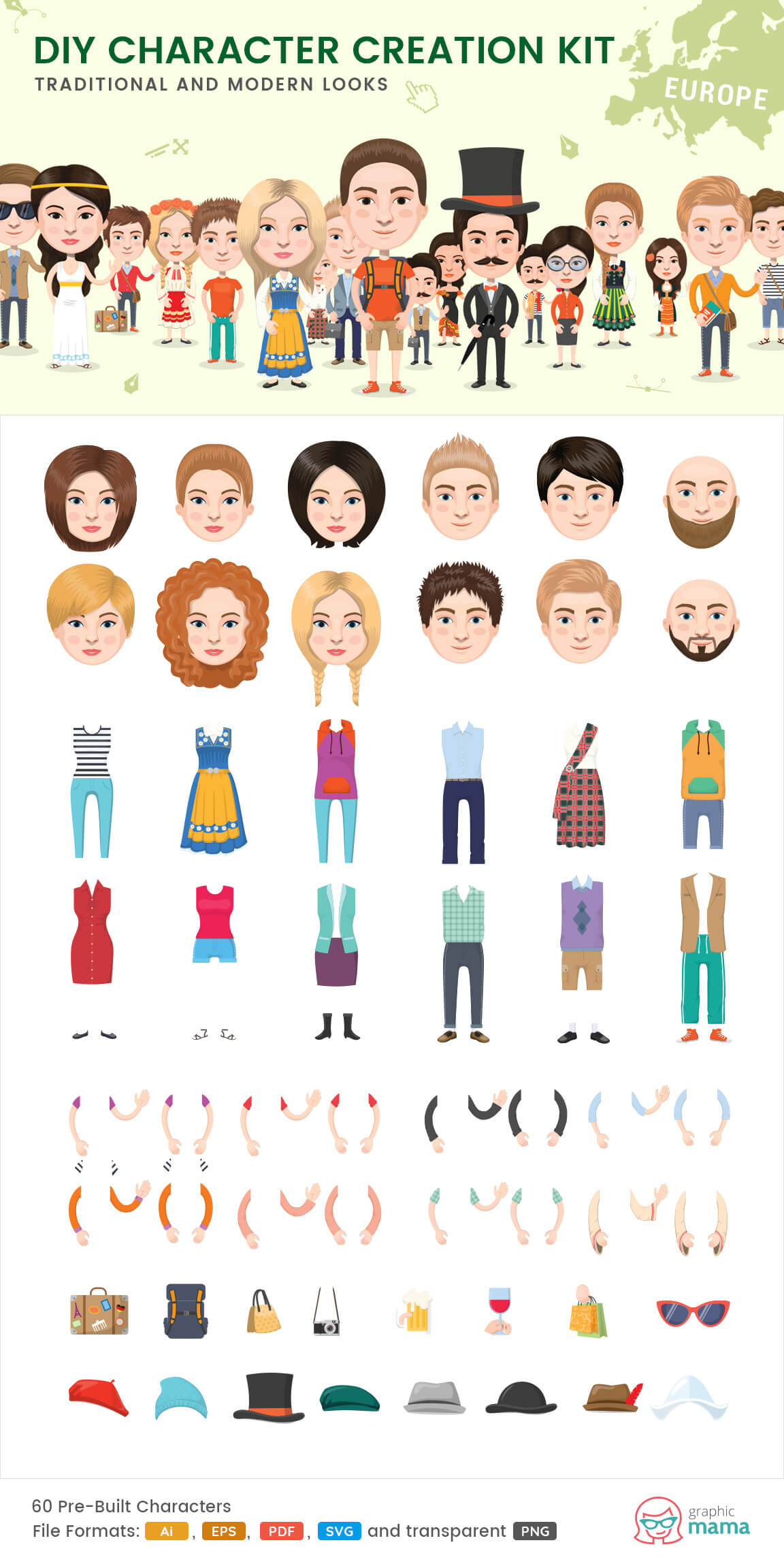 create your own European character vector diy kit by GraphicMama
