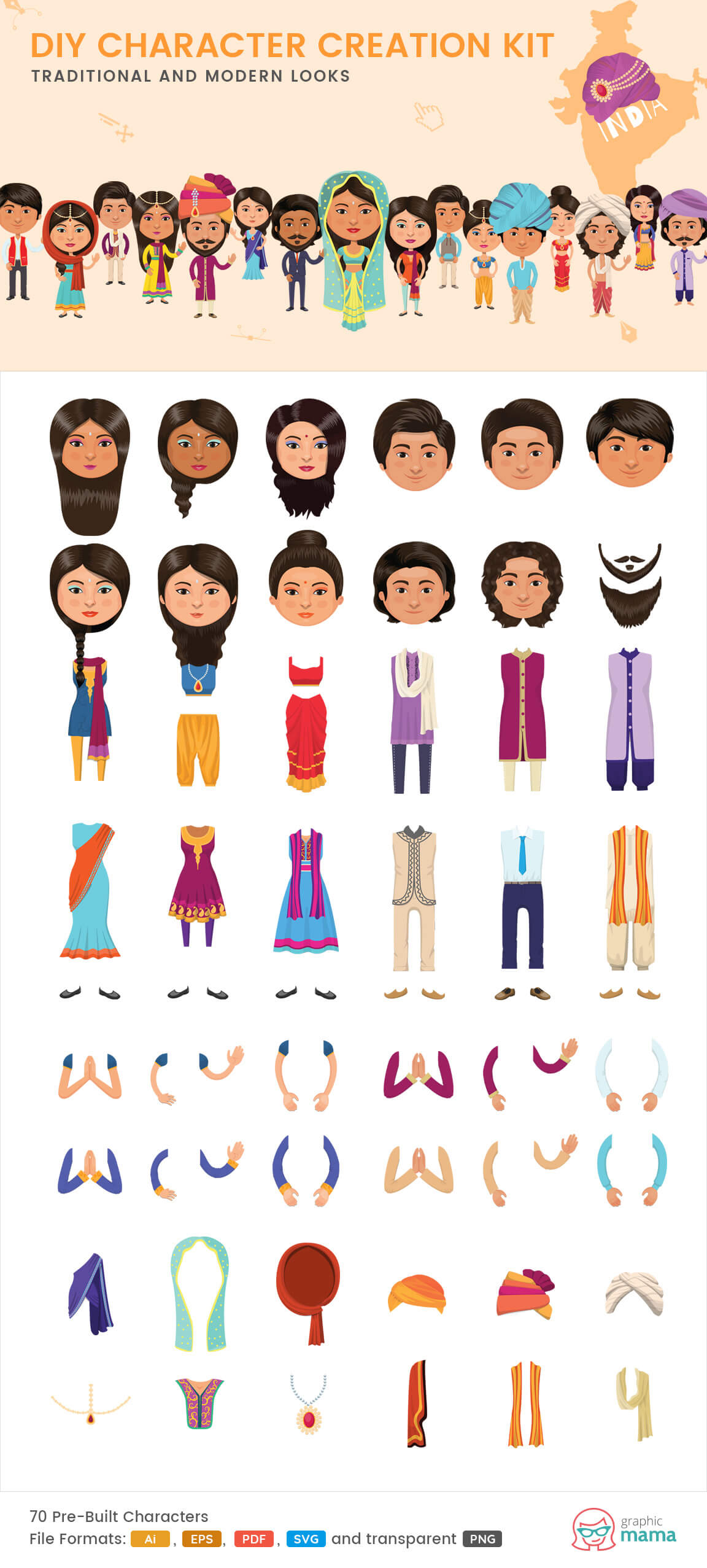 create your own Indian character vector diy kit by GraphicMama
