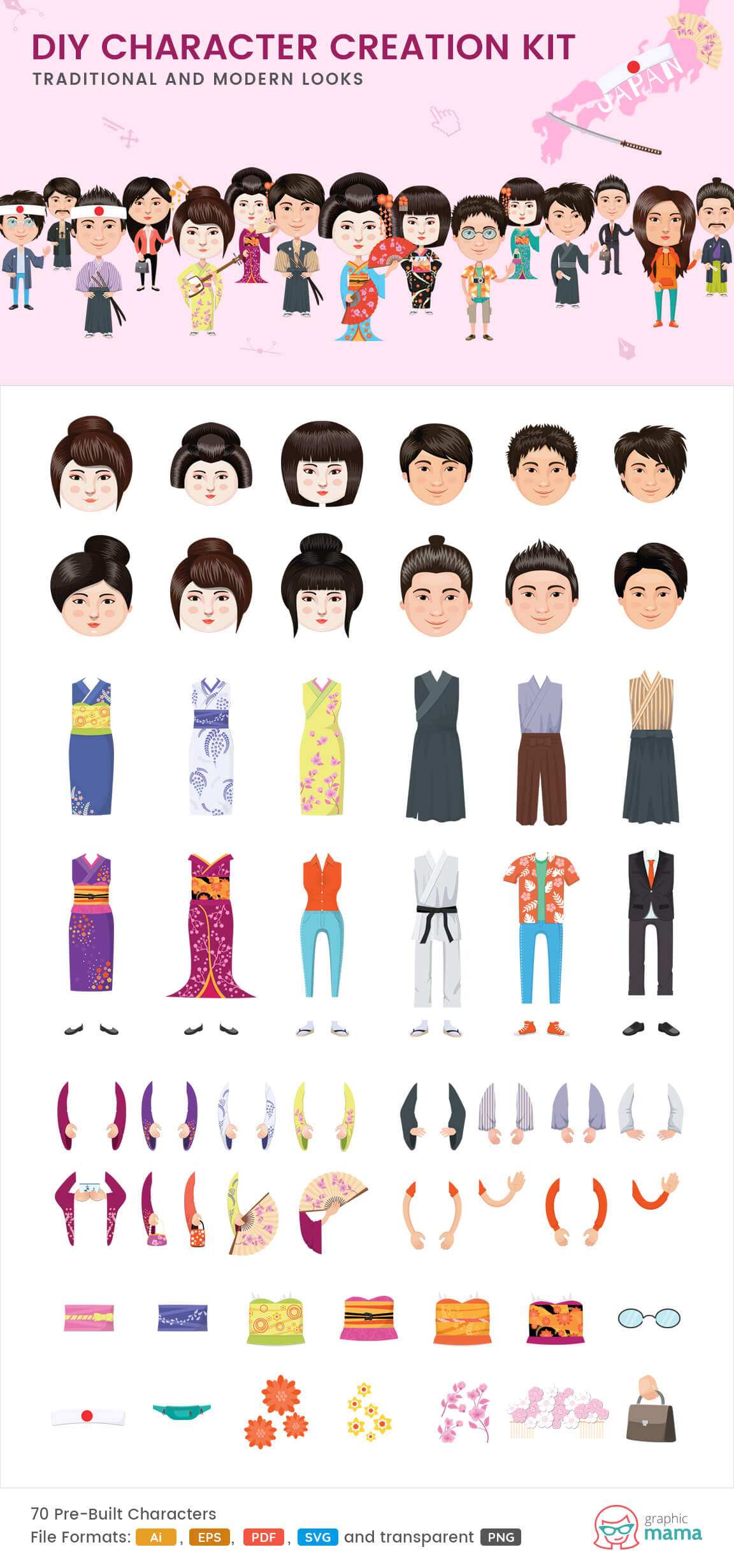 create your own Japanese character vector diy kit by GraphicMama