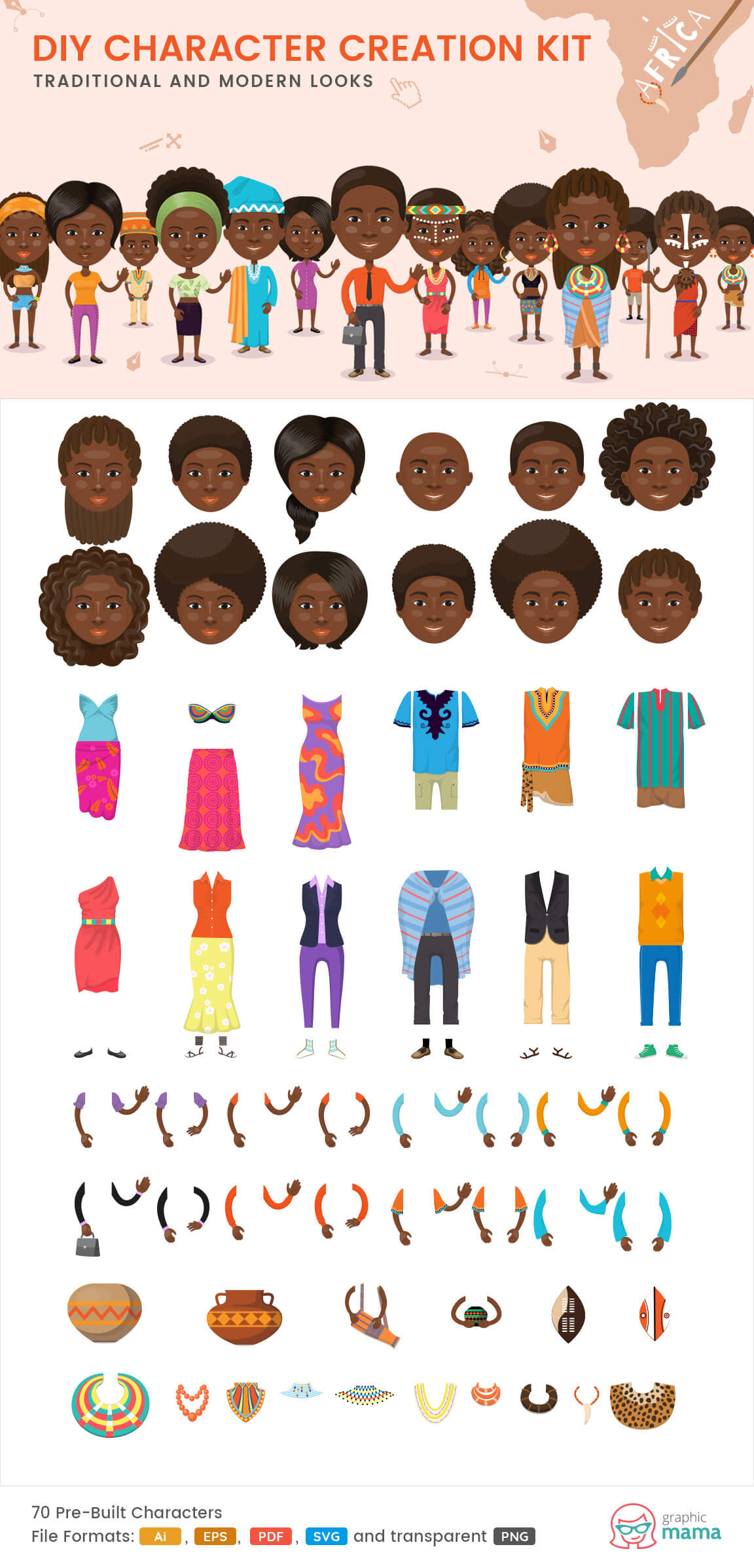 create your own African character vector diy kit by GraphicMama