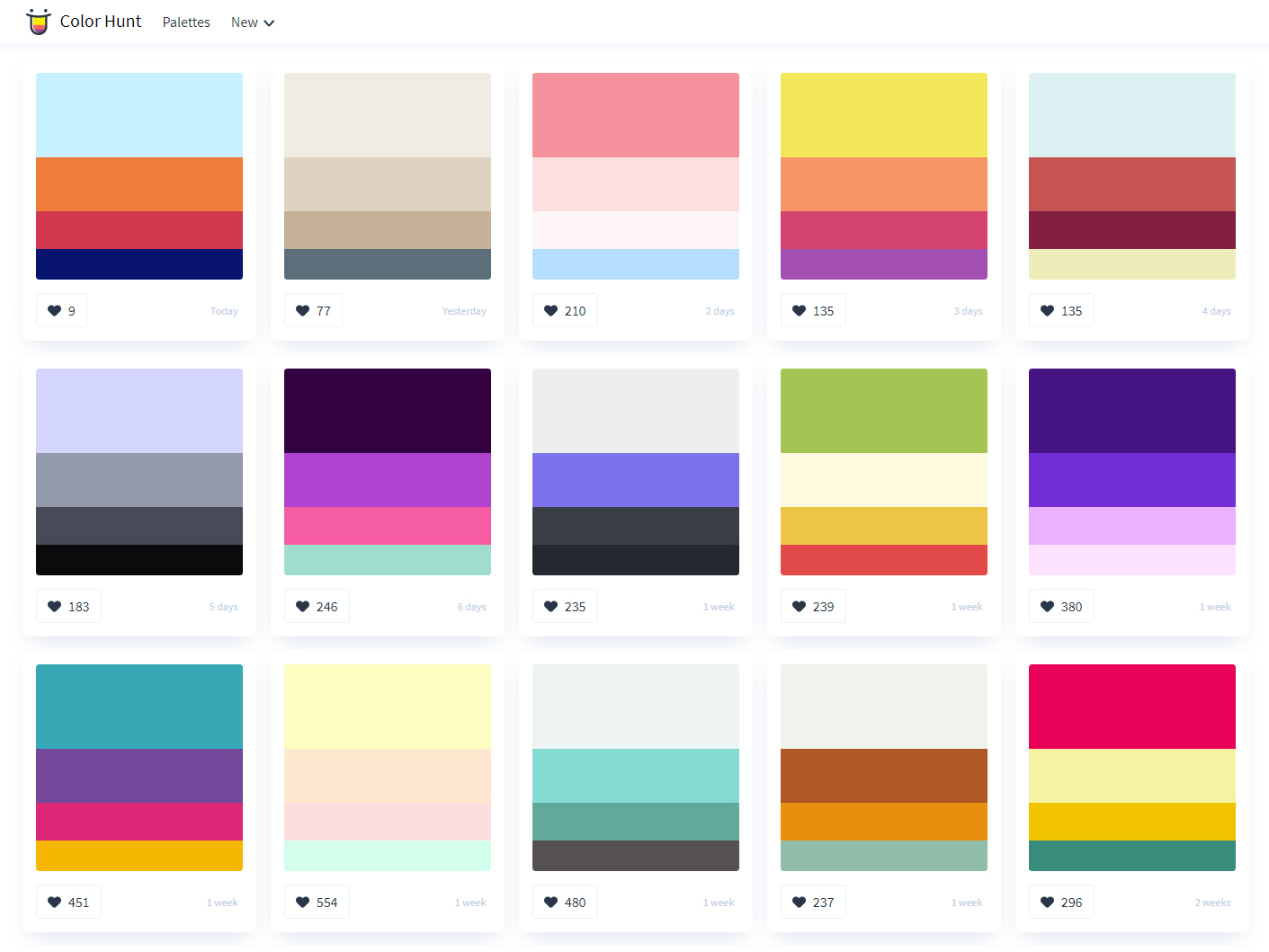color hunt color palettes