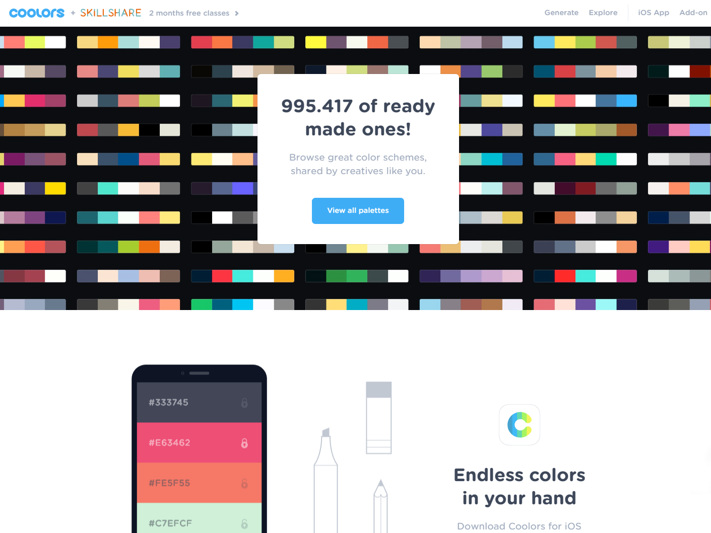 coolors color palettes