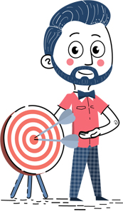 infographic design guide: man with target