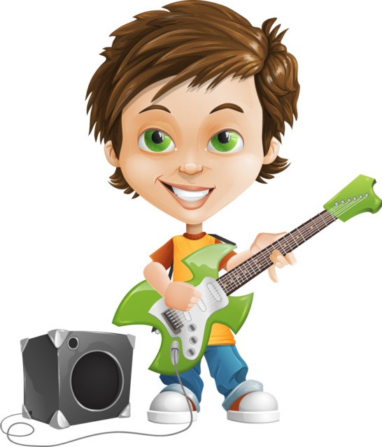 boy with guitar character clipart free