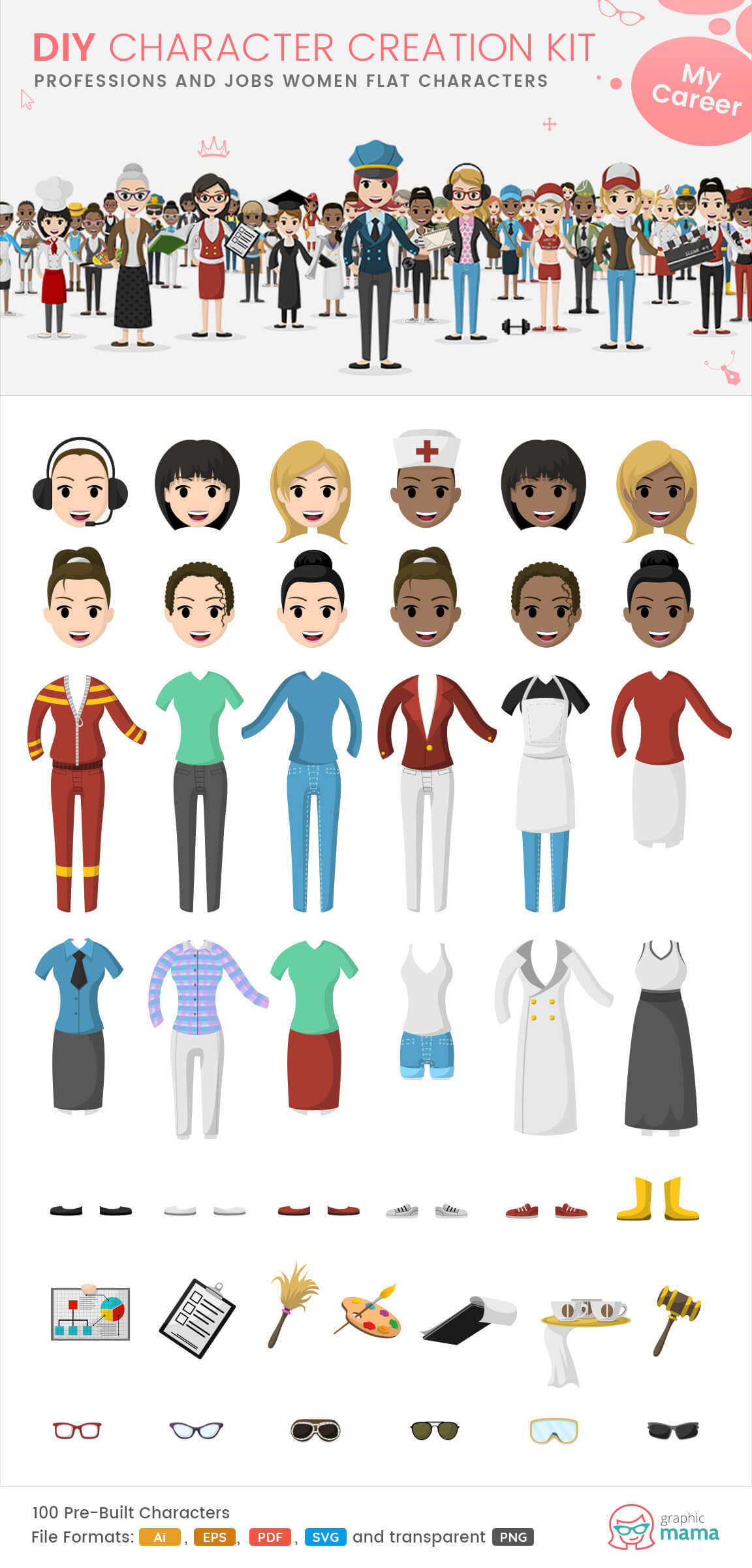 working women characters clipart