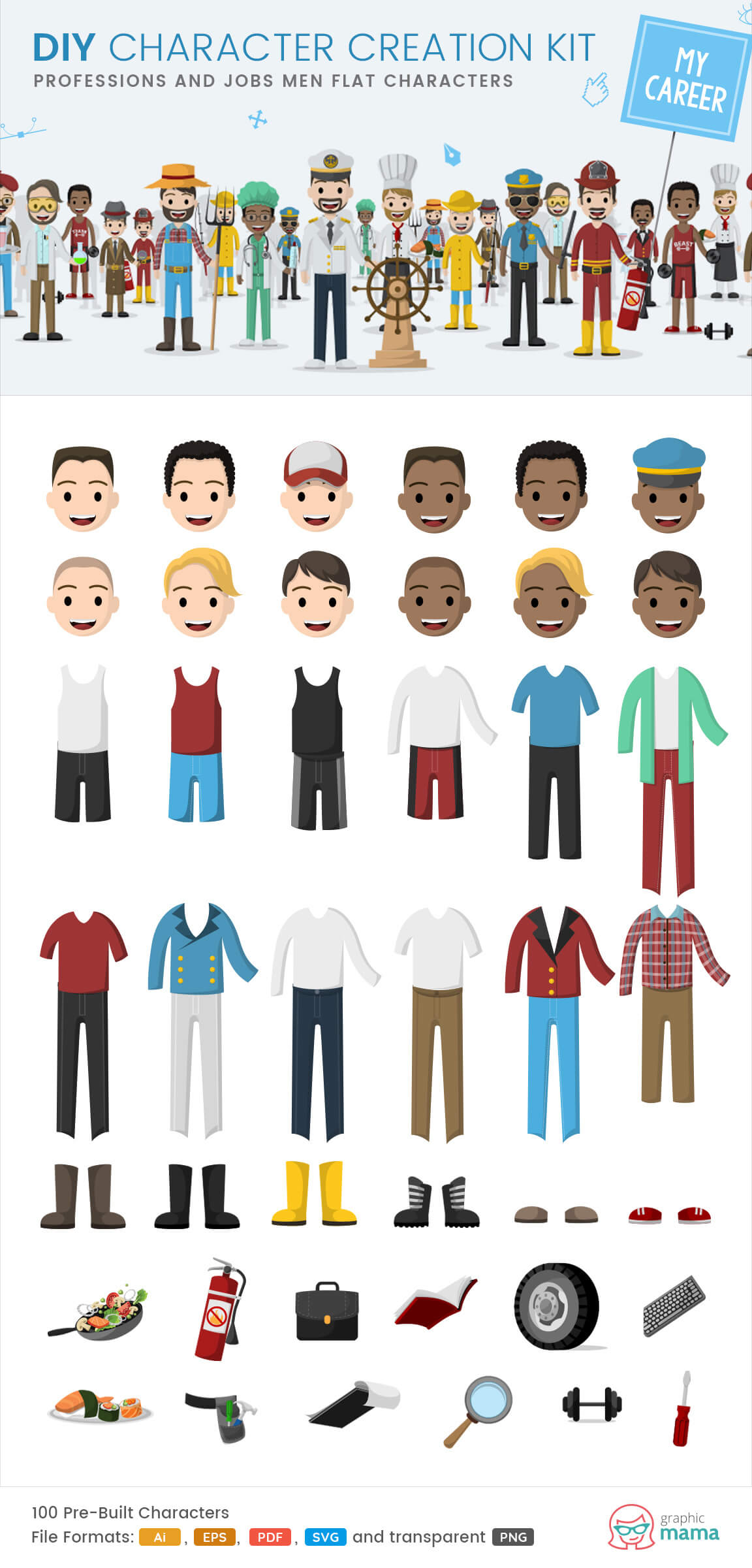 working men characters clipart