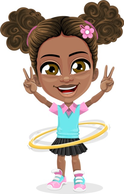 afroamerican kid character clipart