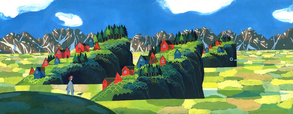Children Book Illustration village