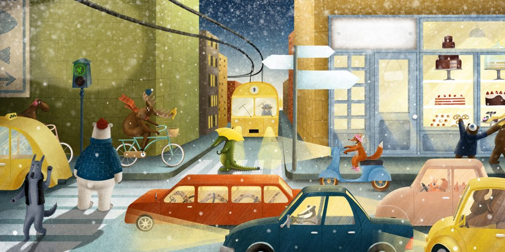 Children Book Illustration animal in city