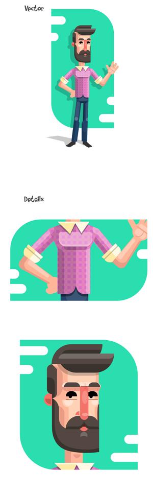 Flat Design Character Man