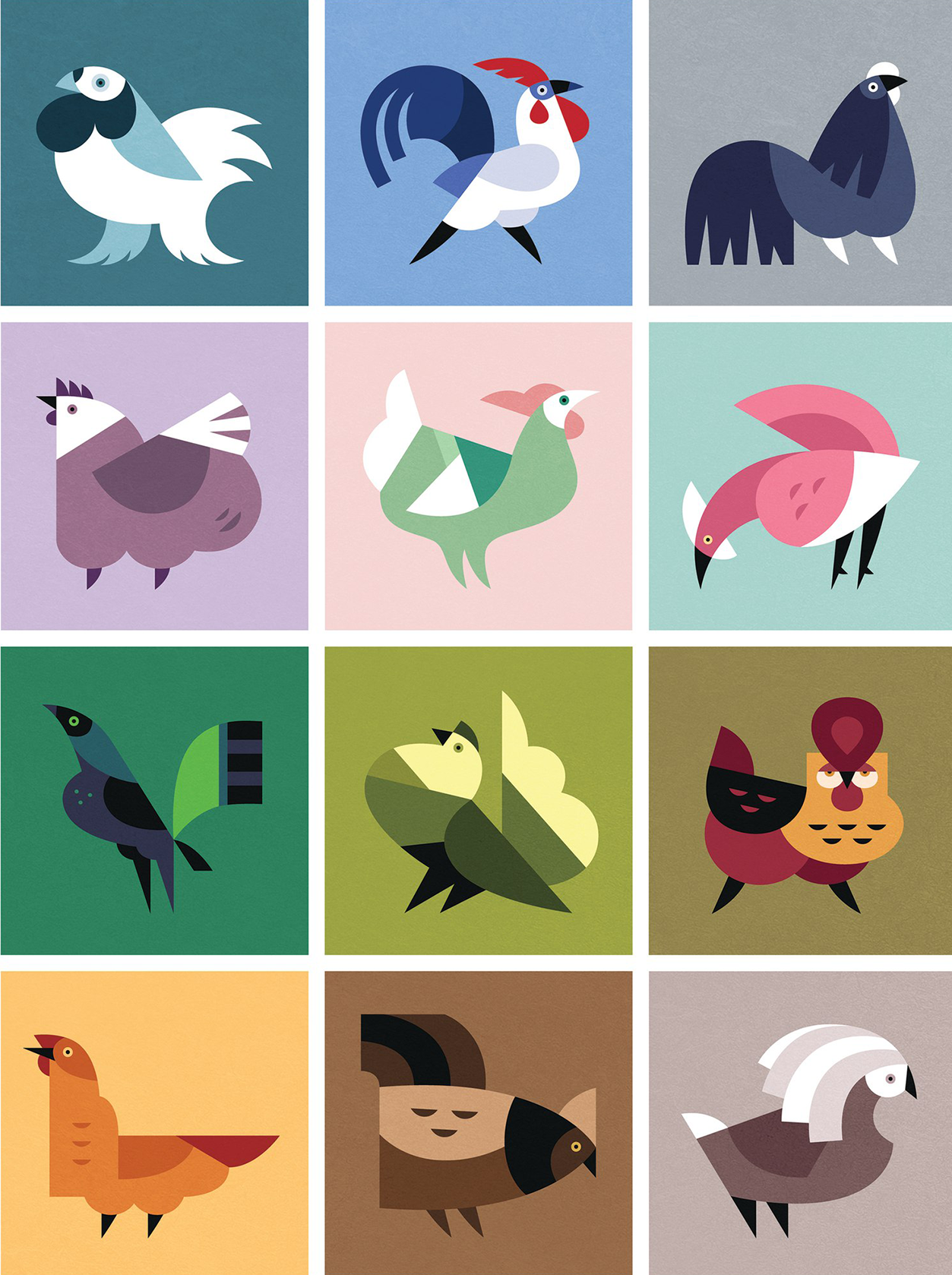 Flat Design Character roosters
