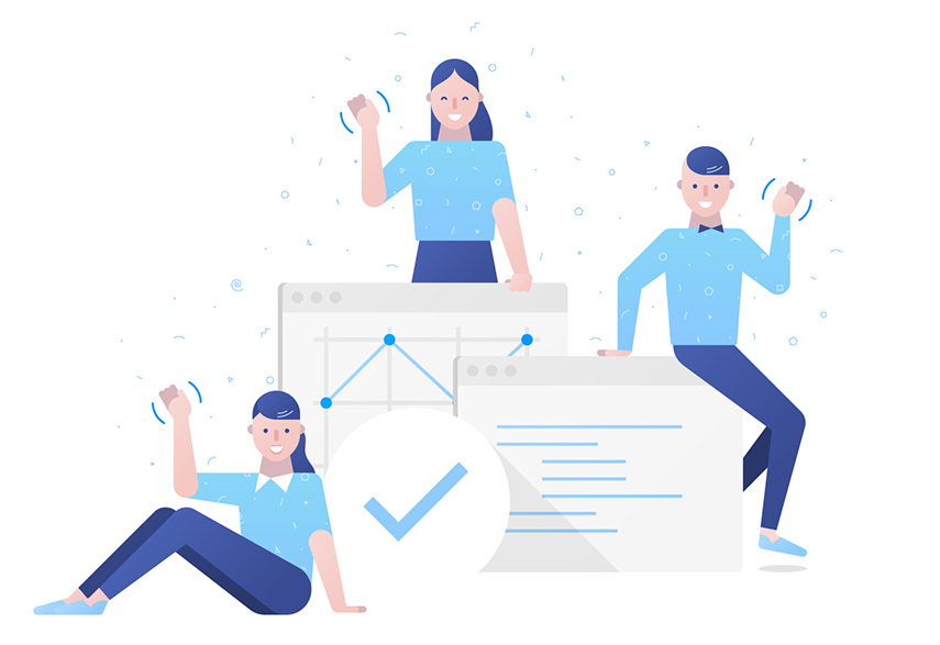 Flat Design Character blue characters