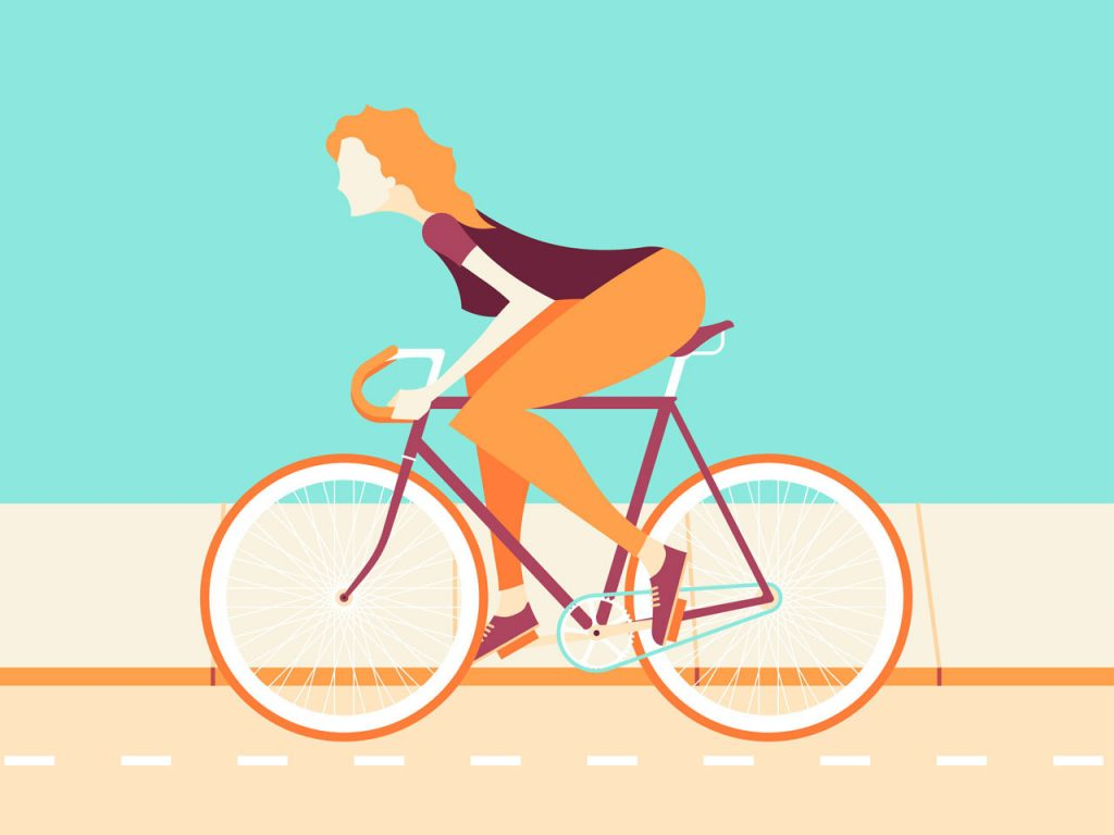 Flat Design Character on bike
