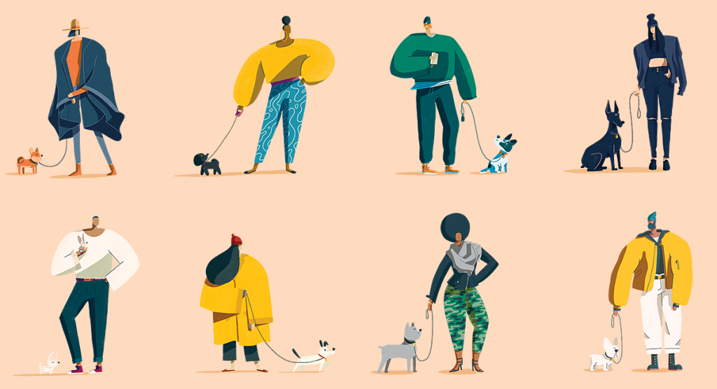 Flat Design Character people and dogs