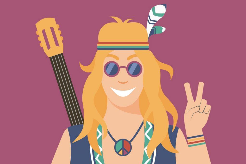 Flat Design Character hippie