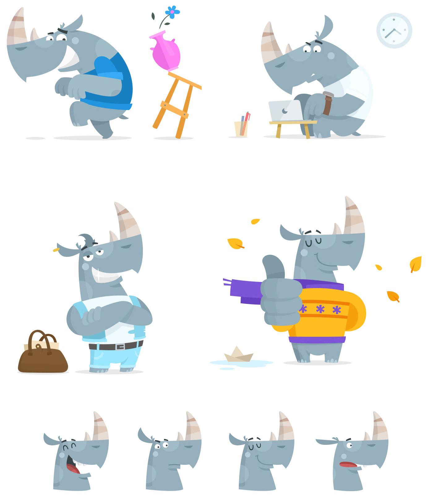 Flat Design Character rhino