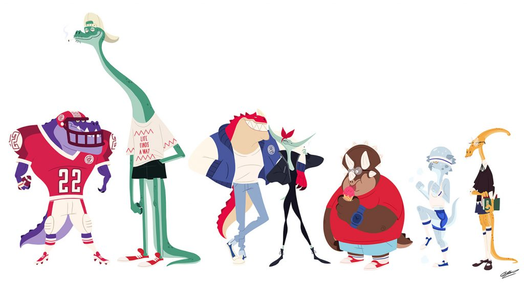 Flat Design Character dino characters