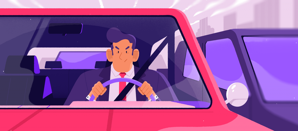 Flat Design Character man in car
