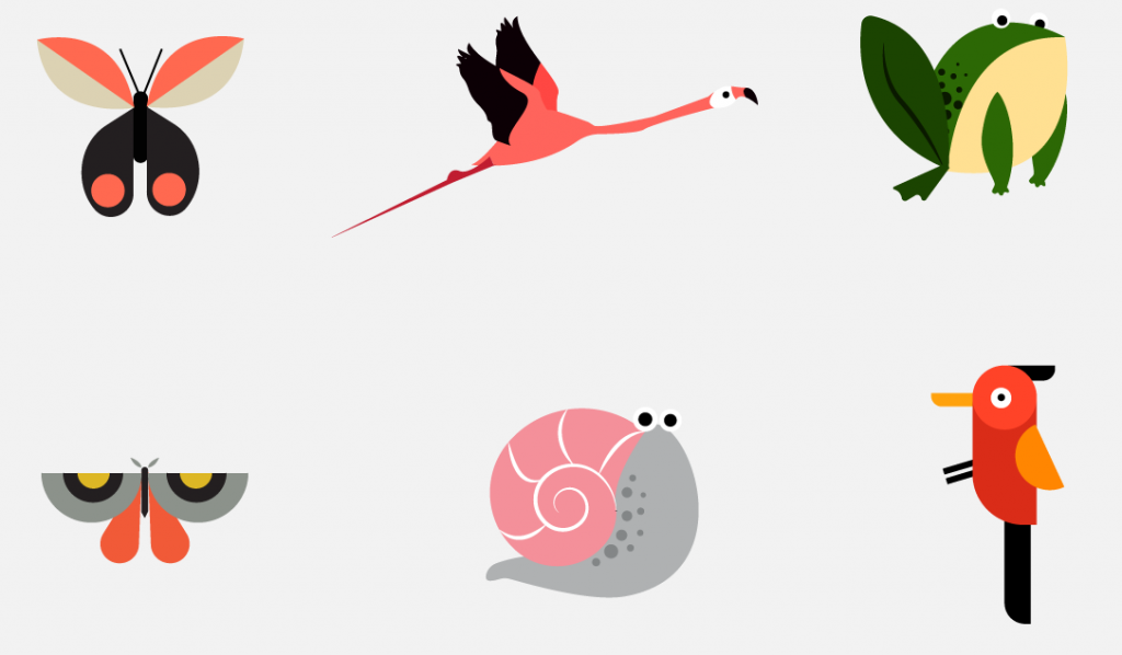 Flat Design Character animal characters