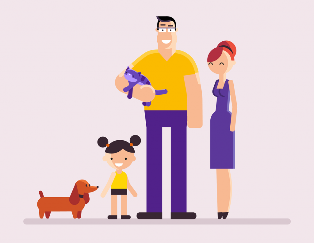 Flat Design Character man woman kid and dog