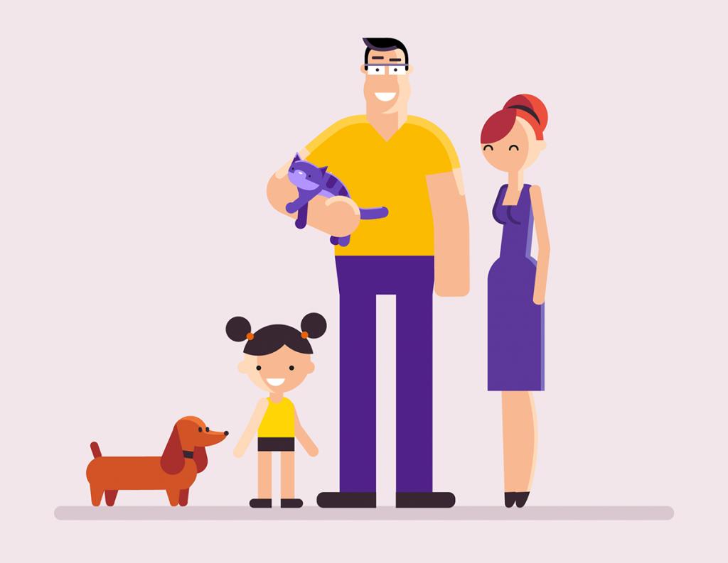 Flat Design Character man woman kid and dog