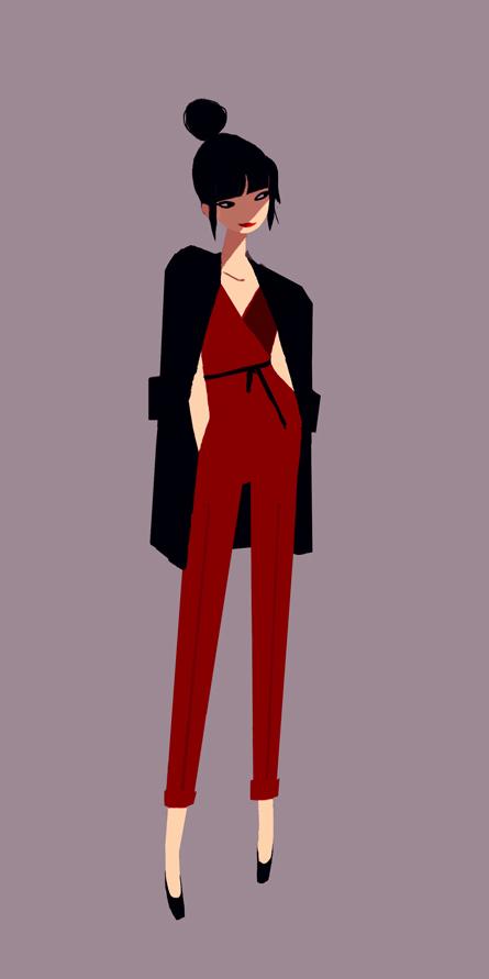 Flat Design Character fashion girl
