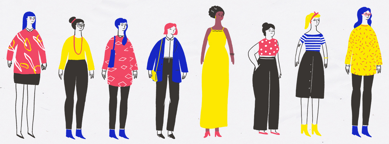 Flat Design Character colored and outline characters
