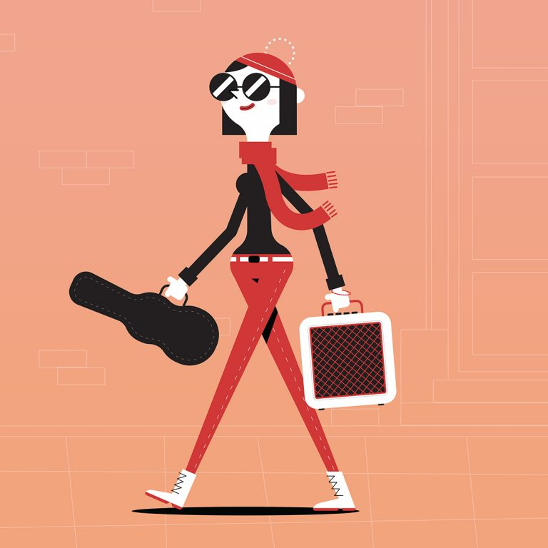 Flat Design Character music girl