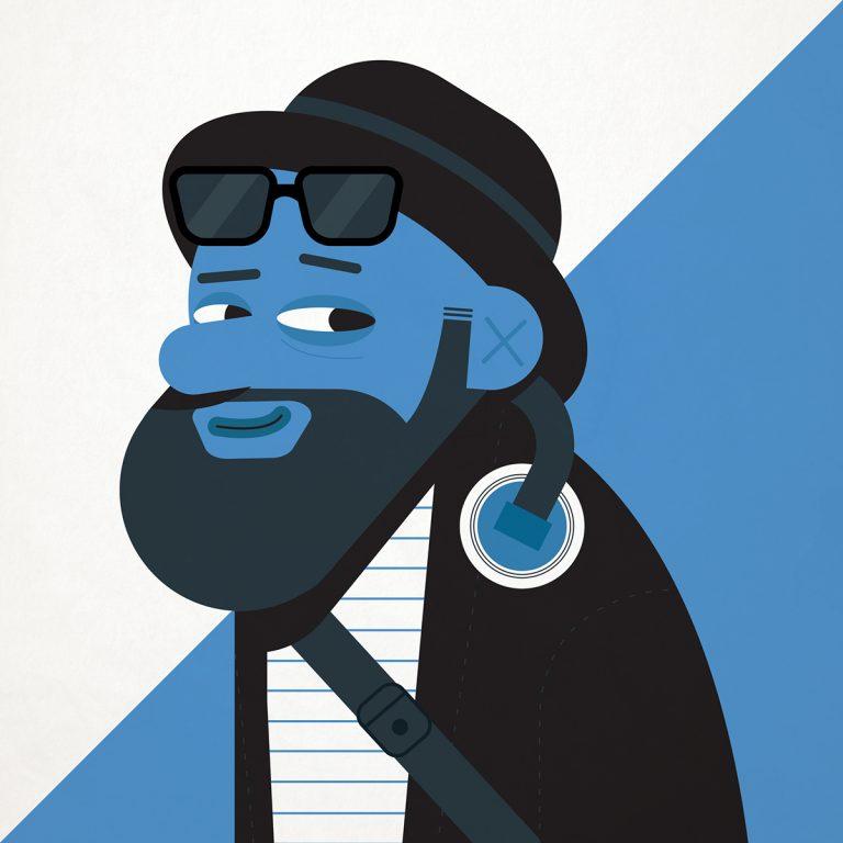 Flat Design Character afroamerican man