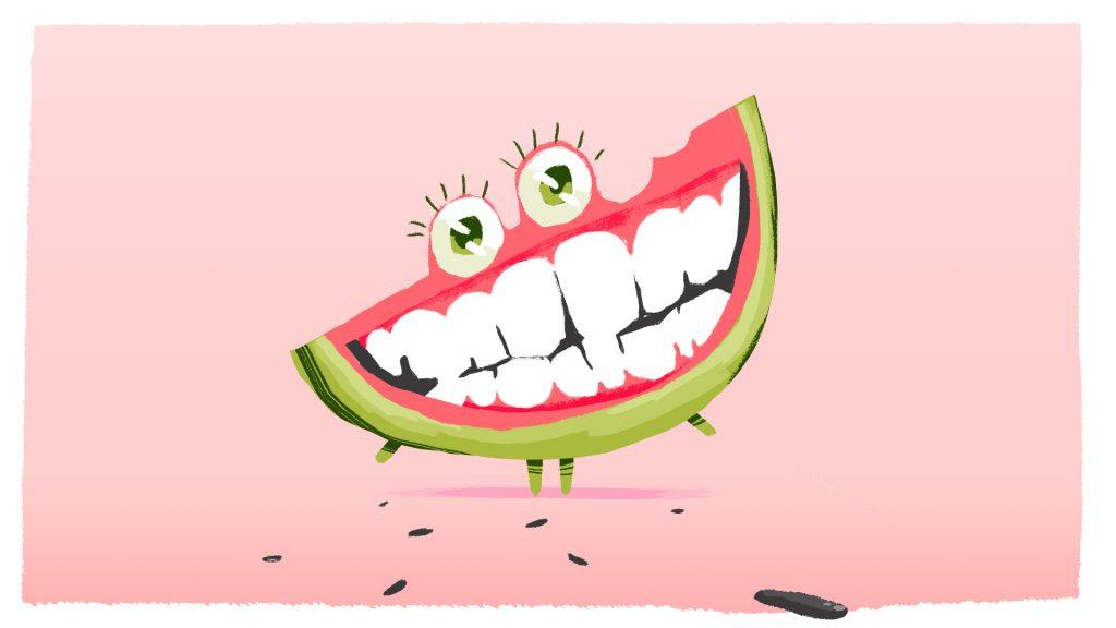 Flat Design Character fruit watermelon